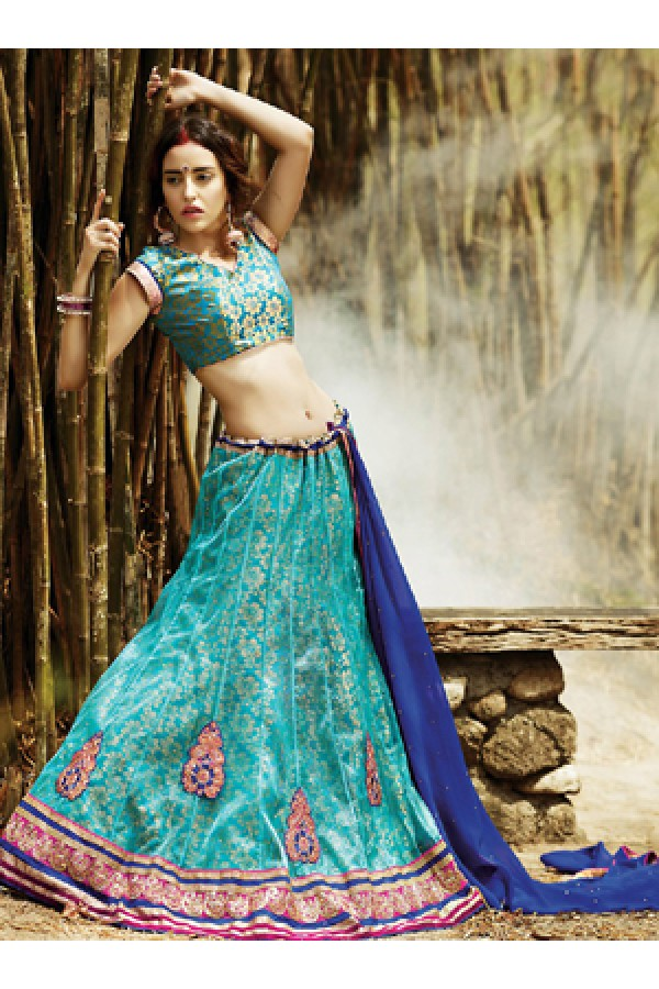 Party Wear Turquoise & Navy Blue Lehenga Choli - 72231