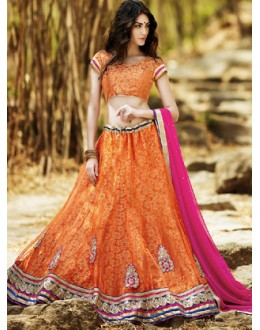 Traditional Orange & Pink Lehenga Choli - 72232
