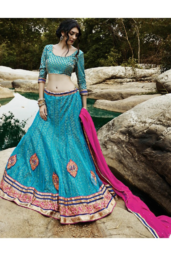 Party Wear Sky Blue & Pink Lehenga Choli - 72233
