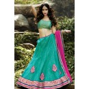 Traditional Turquoise & Pink Lehenga Choli - 72238