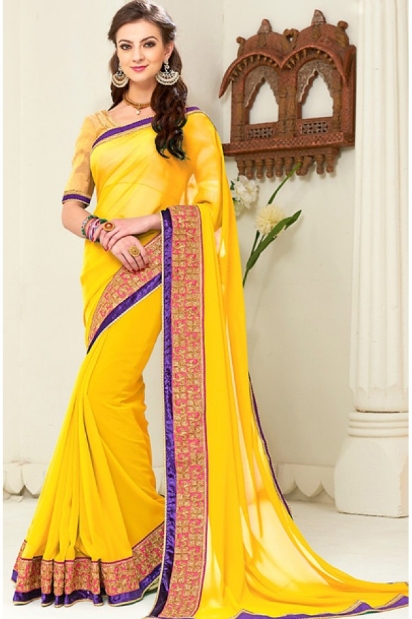 Traditional Yellow Georgette Saree - 72257