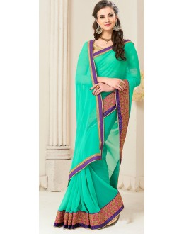 Traditional Turquoise Georgette Saree - 72258