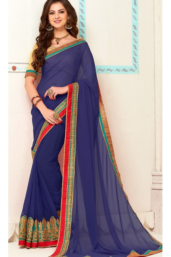 Traditional Navy Blue Georgette Saree - 72265