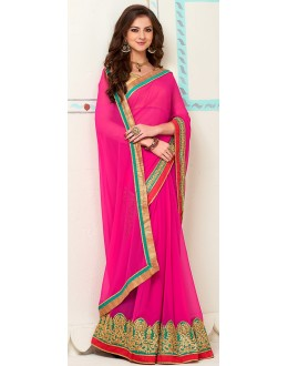 Traditional Pink Georgette Saree - 72266