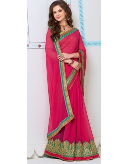 Traditional Pink Georgette Saree - 72268