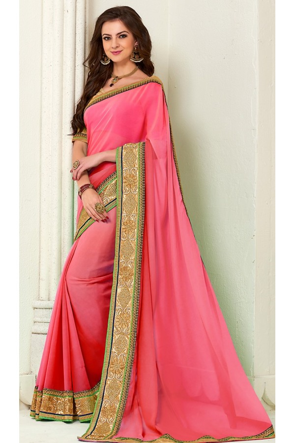 Designer Pink Georgette Embroidered Saree - 72273