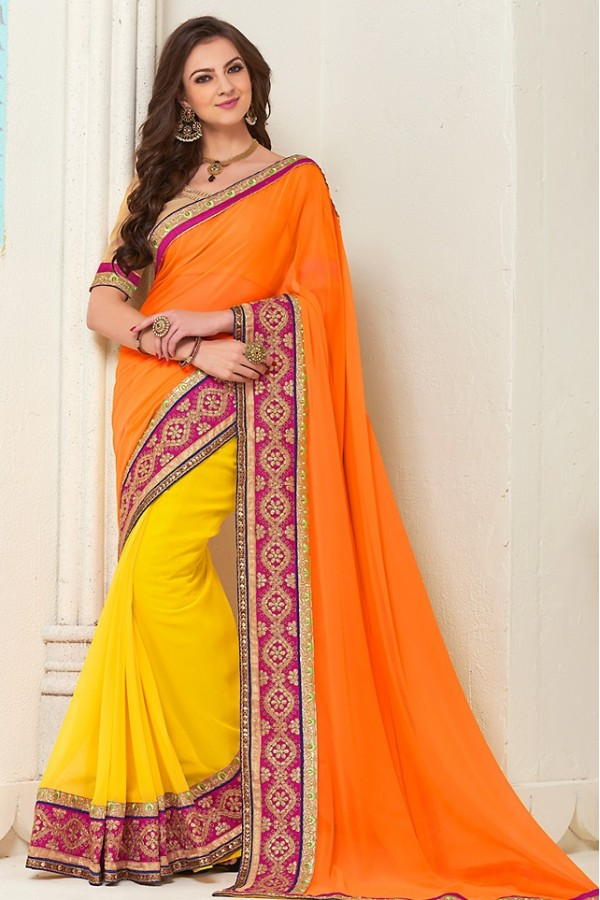 Designer Orange & Yellow Georgette Saree - 72277