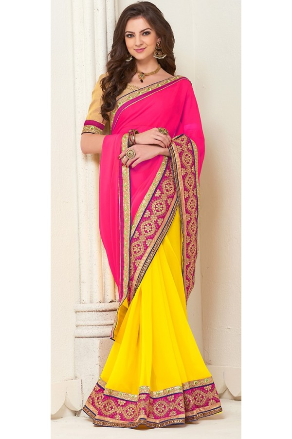 Traditional Pink & Yellow Georgette Saree - 72279