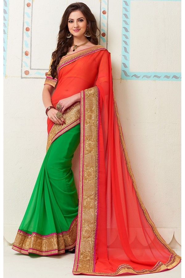 Party Wear Red & Green Georgette Saree - 72281