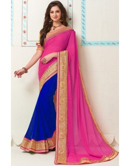 Party Wear Pink & Blue Georgette Saree - 72282