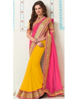 Party Wear Pink & Yellow Georgette Saree - 72283