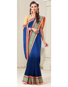 Party Wear Blue Georgette Saree - 72285