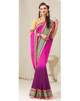 Party Wear Pink Georgette Saree - 72287