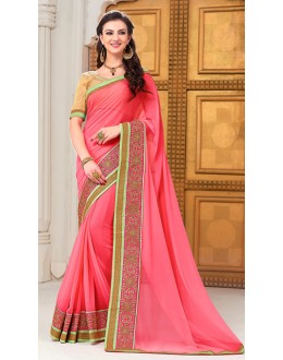 Party Wear Pink Georgette Saree - 72289
