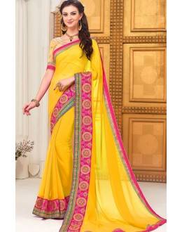 Party Wear Yellow Georgette Saree - 72293