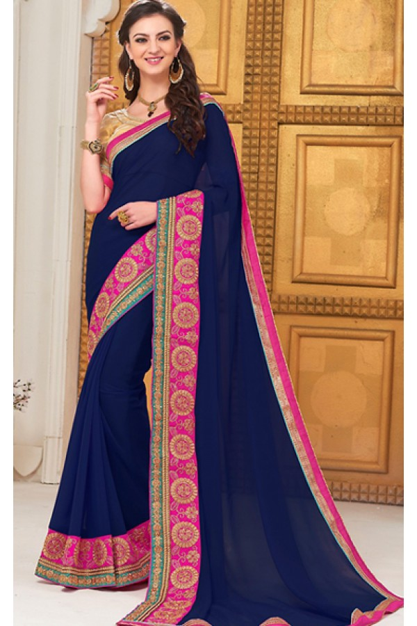 Party Wear Navy Blue Georgette Saree - 72294