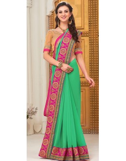 Party Wear Green Georgette Saree - 72295