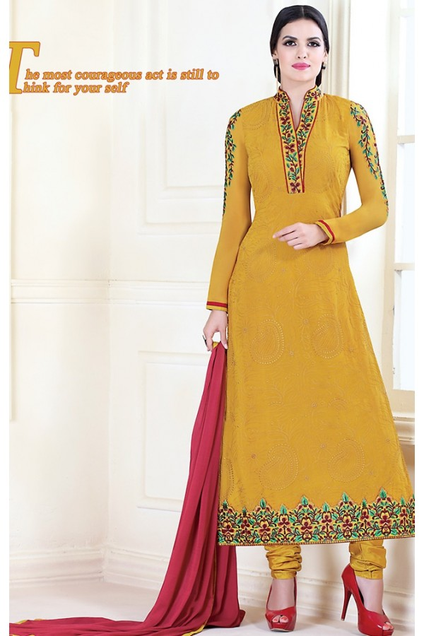 Party Wear Yellow Georgette Salwar Kameez - 72304