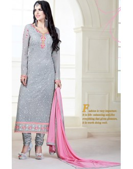 Party Wear Grey Georgette Salwar Kameez - 72306
