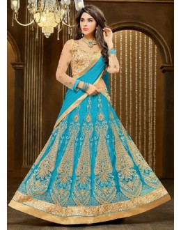 Bridal Sky Blue & Tan Brown Net Lehnega Choli - 72322