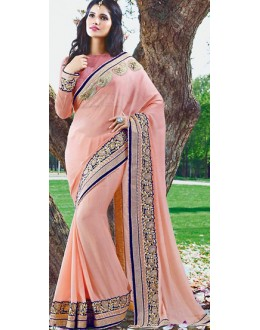 Party Wear Pink Chiffon Saree - 72383