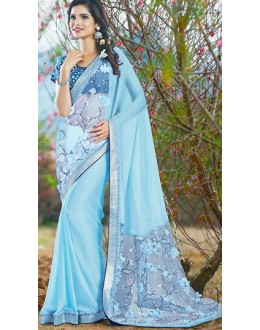 Party Wear Sky Blue Chiffon Saree - 72388