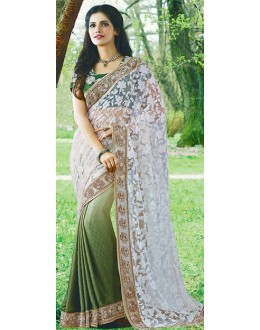 Party Wear White & Green Brasso Saree - 72389