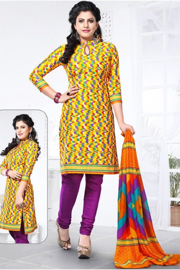 Casual Wear Yellow & Fuchsia Cotton Salwar Suit - 72427