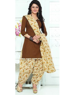 Casual Wear Brown & Cream Cotton Patiala Suit - 72429