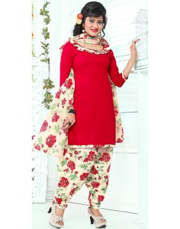 Casual Wear Red & Off White Cotton Patiala Suit - 72432