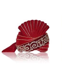 Designer Red Velvet Groom Turban - 72465