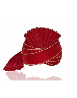 Traditional Red Velvet Groom Turban - 72466