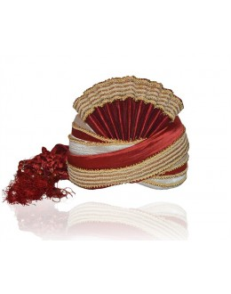 Ethnic Wear Maroon Raw Silk Groom Turban - 72470