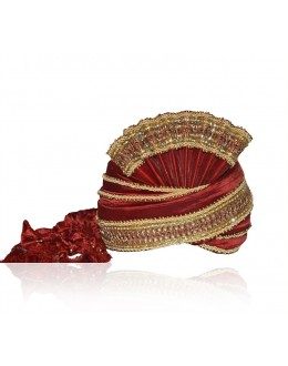 Ethnic Wear Maroon Raw Silk Groom Turban - 72472