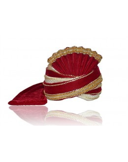 Wedding Wear Red Raw Silk Groom Turban - 72474