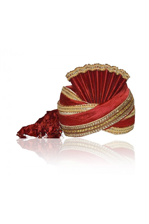 Wedding Wear Red Raw Silk Groom Turban - 72476