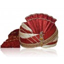 Designer Red Chanderi Silk Groom Turban - 72481