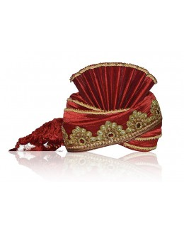 Bridal Red Raw Silk Groom Turban - 72485