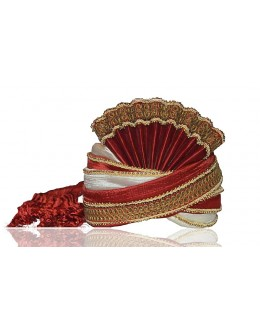 Ethnic Wear Maroon Raw Silk Groom Turban - 72487