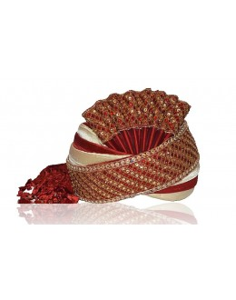 Wedding Wear Maroon Raw Silk Groom Turban - 72488