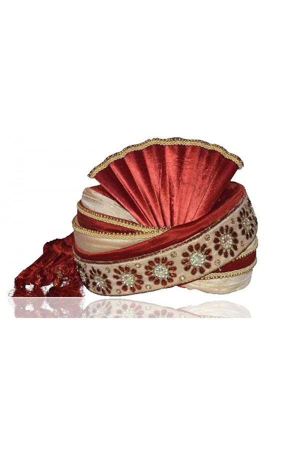 Traditional Maroon Raw Silk Groom Turban - 72489