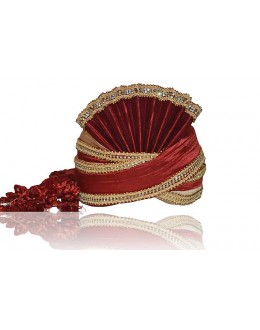 Traditional Maroon Raw Silk Groom Turban - 72490