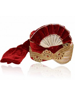 Bridal Maroon Velvet Groom Turban - 72496