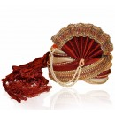 Wedding Wear Maroon Art Silk Groom Turban - 72499