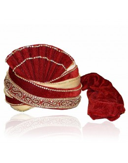 Wedding Wear Maroon Velvet Groom Turban - 72501