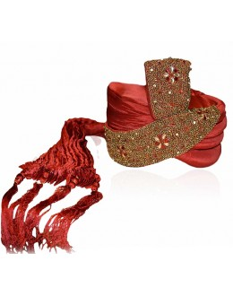 Wedding Wear Red Art Silk Groom Turban - 72502