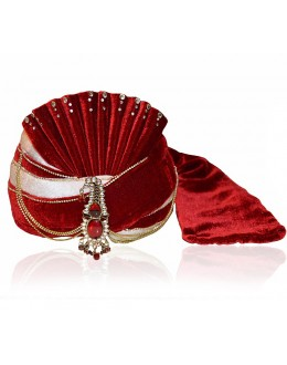 Wedding Wear Maroon Velvet Groom Turban - 72503