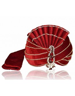 Wedding Wear Maroon Velvet Groom Turban - 72505