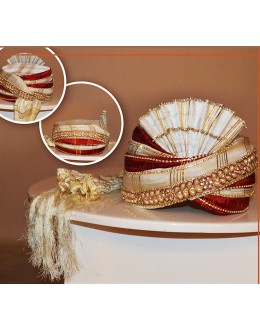 Designer White Art Silk Groom Turban  - 72506