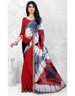 Casual Wear Red Georgette Saree  - 72521